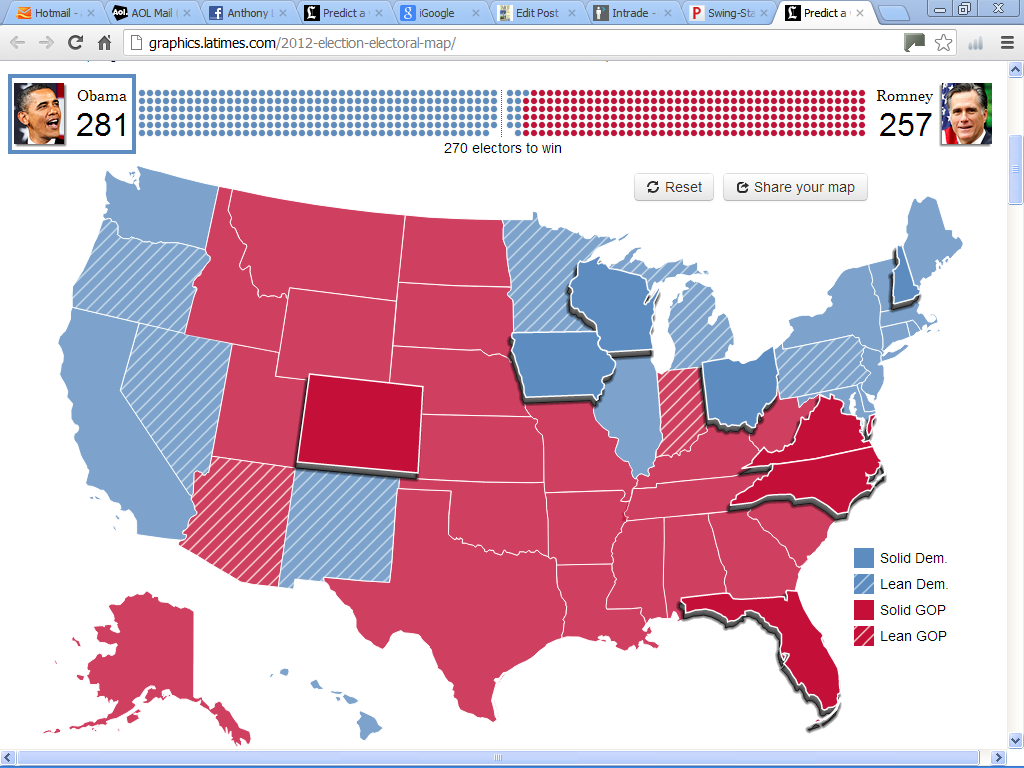 Updated Prediction Of US Presidential Election Anthony - Us election 2012 map