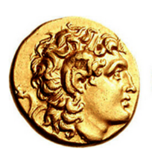 Bust of Alexander on a gold stater of Lysimachus