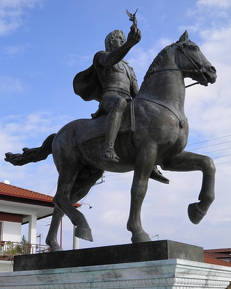 Alexander the Great riding Bucephalus and carrying a winged statue of Nike at the square of Alexander the Great in Pella city, his birthplace.