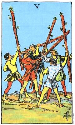 Five of Wands, associated with the first or Saturn decan of Leo