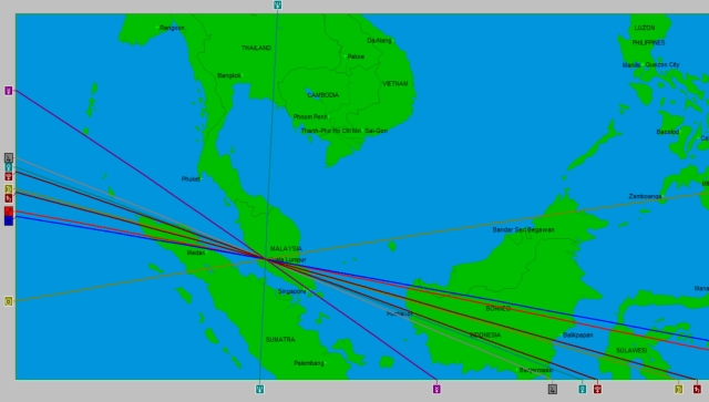 Local Space map of flight's takeoff from Kuala Lumpur.