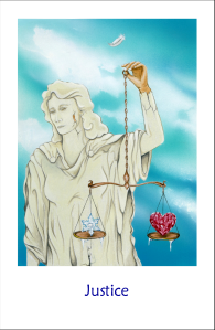 Solar Return ASC-ruler Mars resides in the 12th house (scandal) in the sign Libra (tarot trump Justice).  Image from Snowland tarot.