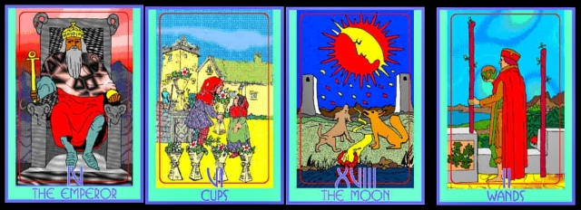 3-card reading for first day as kindergarten teacher, with Two of Wands as a clarification card for the Moon.