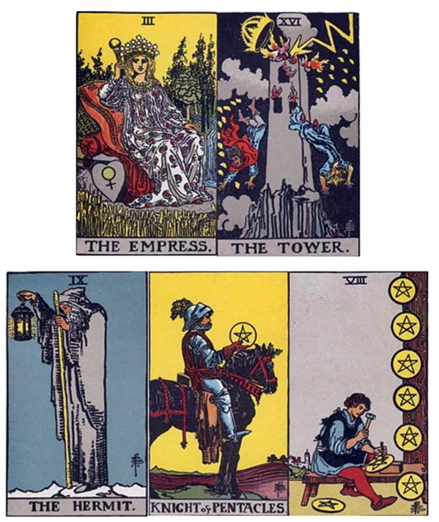 Venus (Empress) conjoins Mars (Tower) in 1st decan of Virgo: Hermit - Knight of Pentacles - 8 of Pentacles.