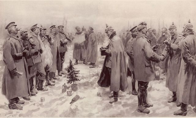 """Photo from The Illustrated London News, 9 January 1915, """"British and German Soldiers Arm-in-Arm Exchanging Headgear: A Christmas Truce between Opposing Trenches"""""""