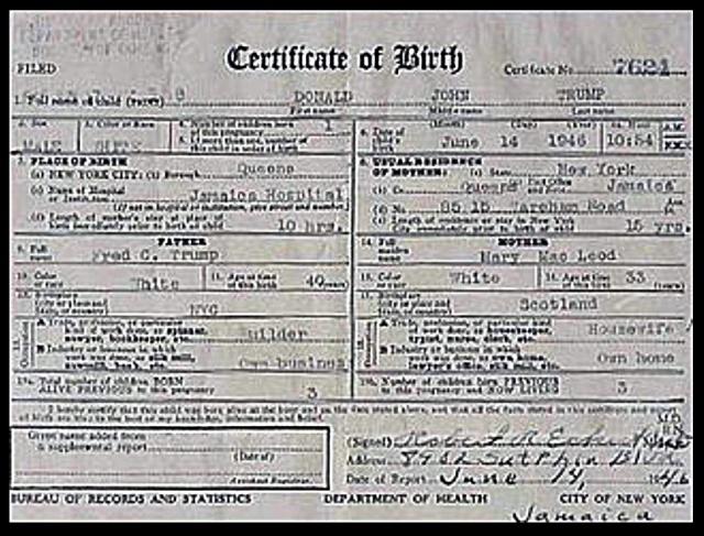 Trump birth certificate